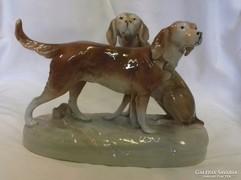 Royal Dux vadászkutya kutyapár porcelán