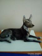 Fekvő kutya hollóházi porcelán