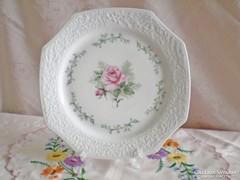 Jelzett süteményes vagy kínáló tál / rózsával