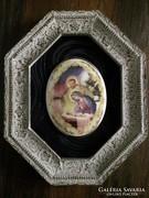Porcelán szentkép régi fa keretben 26.5×21.5cm.