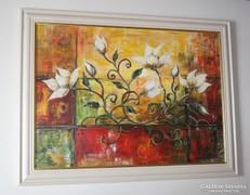 Csodás magnóliák keretezett nagyméretű festmény