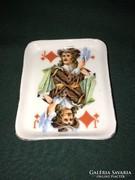 Ritka Aquincum kártya motívumos porcelán tálka káró bubi