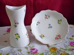 Aquincumi apró virágos porcelán váza 9 cm és tálka