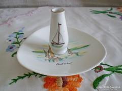 Balatoni Aquincumi porcelán tálka és Hollóházi mini váza