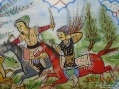 Iráni-perzsa miniatűr:Vadászat-intarziás keretben