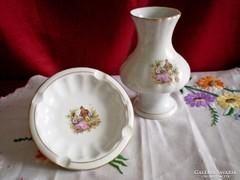 Bavaria barokk jelenetes váza 12 cm és hamutál