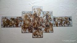 Modern absztrakt festmény 5 elemes (144x65cm)