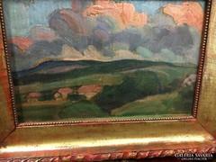 Nagy István gyönyörű tájképe dombok között megbúvó házikók
