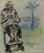 Nyergesi János : Varrogató asszony 1930
