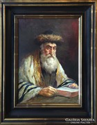 Péczely Antal - Olvasó rabbi - eredeti olajfestmény