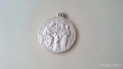 Régi, antik ezüstözött medál