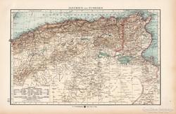 Algéria ás Tunézia térkép 1904, eredeti, Moritz Perles