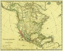 0L609 Antik acélmetszet térkép ÉSZAK-AMERIKA