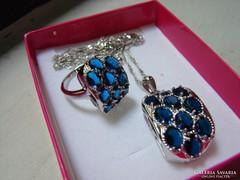 Gyönyörű kék ezüst szett / gyűrű +lánc medállal