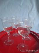 4 db antik bieder üveg talpas pohár