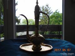 Vintage-kézzel vésett tömör réz teáskanna+tálca-34 cm