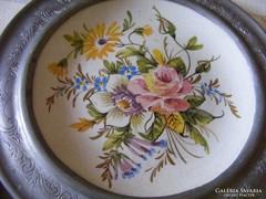 2 db kézzel festett, ón szélű, antik, gránit fali dísztányér