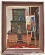 Piri Kálmán (1908-1983) Enteriór 100x80cm olajfestménye