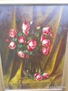 Murin Vilmos eredeti nagyméretű rózsás virágcsendélet.