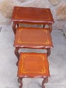 Neobarokk stílusú lerakó asztalok,intarziás asztallapokkal