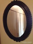 Bőrkeretes ovális tükör -  68 x 51 cm