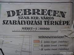 Térkép, Debrecen szab. kir. város  szabályozási térképe.
