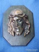 Antik bronz A Megváltó Jézus falikép,falidísz