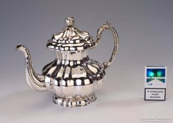 Ezüst nagy méretű, bécsirózsás teáskanna