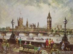 0M142 London nyomat : Big Ben 16.5 x 21.5 cm