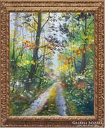 Erdei út -impresszió-kortárs igényes festmény...