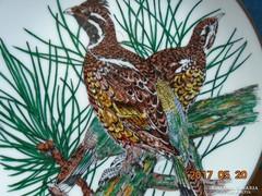 GALLÉROS CSÁSZÁRMADÁR pár-máz felett festett-falitál-19 cm