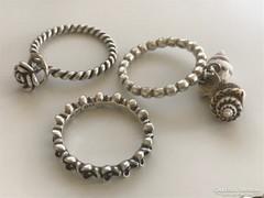 3db PANDORA ezüst gyűrűk 18,5-18-18mm átmérők