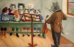 Otto Gustav Zehrfeld képeslap-Cicák énekórán- gyűjteményből