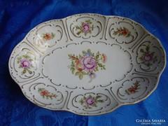 Rózsás hollóházi porcelán kínáló tál