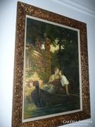 Székely Bertalan - Csónakázó szerelmesek repró festménye