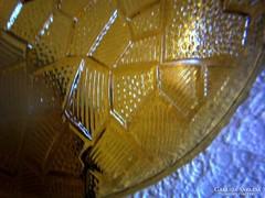 Borostyán üveg tányér, 14,5 cm,