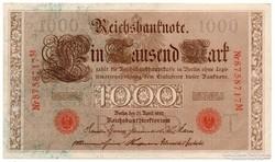 Németország 1000 német birodalmi Márka, 1910, szép
