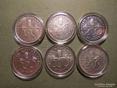Ezüst 200 Forint sor! 1992-93-94-95-97-98!