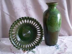 Egyedi kézzel készült nagy kerámia váza és áttört tál