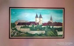 90 x 150-Veszprémi vár-olajfestmény