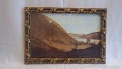 Díszes üvegezett képkeret , falc 22x34 cm