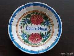 Antik hollóházi dísztányér, falra akasztható tányér