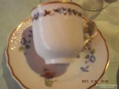 Csodaszép hollóházi kávés csésze tányérral
