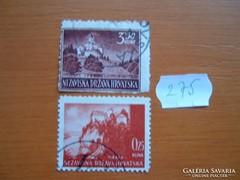 HORVÁTORSZÁG 0,25-3,50 KUNA 2 DB 1941-43 TÁJAK  275.
