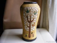 Retro iparművész madaras kerámia váza