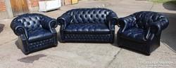 Chesterfield kék színű bőr ülőgarnitúra!