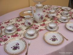 Luxus aranyozott 21 részes Chauvigny Francia porcelán szett