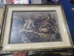 Régi lovas csata jelenetes festmény