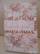 Textilből füzetborító/  15x22 cn + kis sima szívecske!!!!!!!