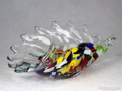 0M824 Régi sün alakú művészi muránói üveg hamutál